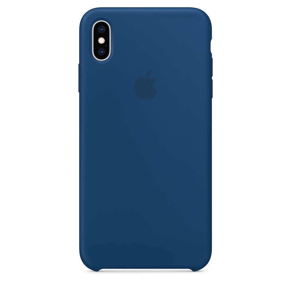 Pouzdro Apple silikonové iPhone XS Max podvečerně modré