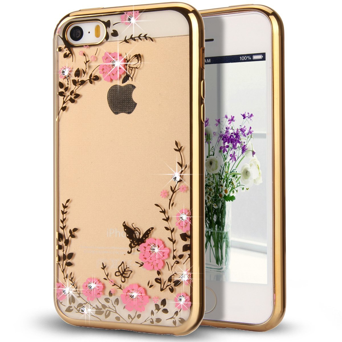 Pouzdro Crystal Flowers iPhone SE / 5s / 5 gold