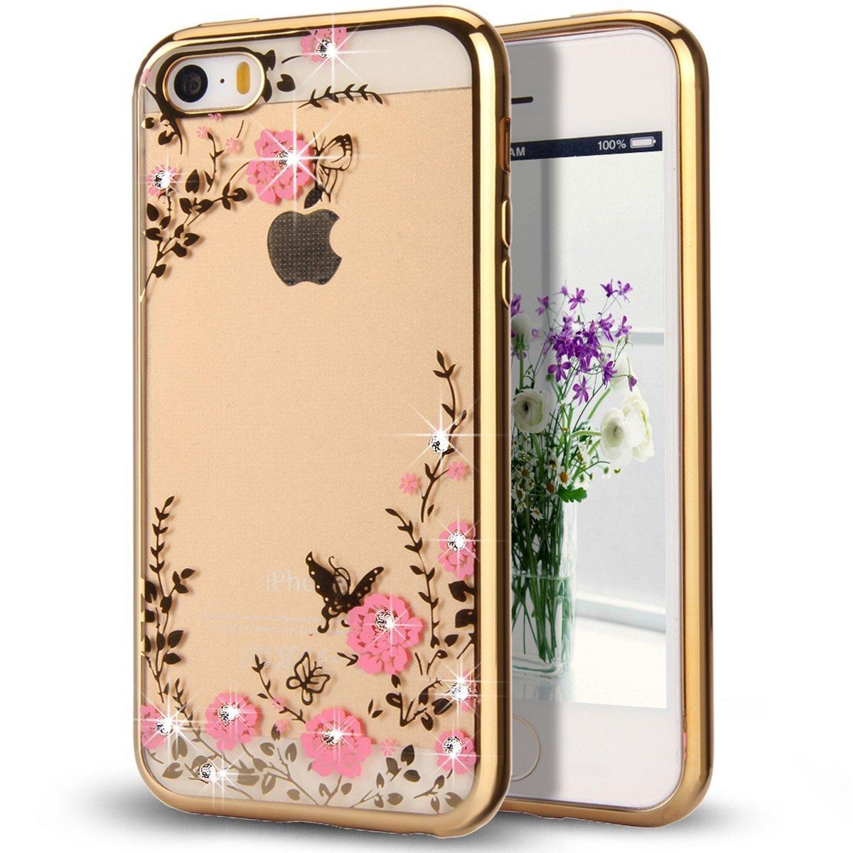 Obal / kryt Crystal Flowers pro iPhone SE / 5s / 5 - Zlatý (gold)
