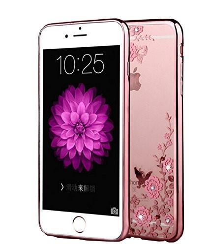 Obal / kryt Crystal Flowers pro iPhone 8 - Rose Gold