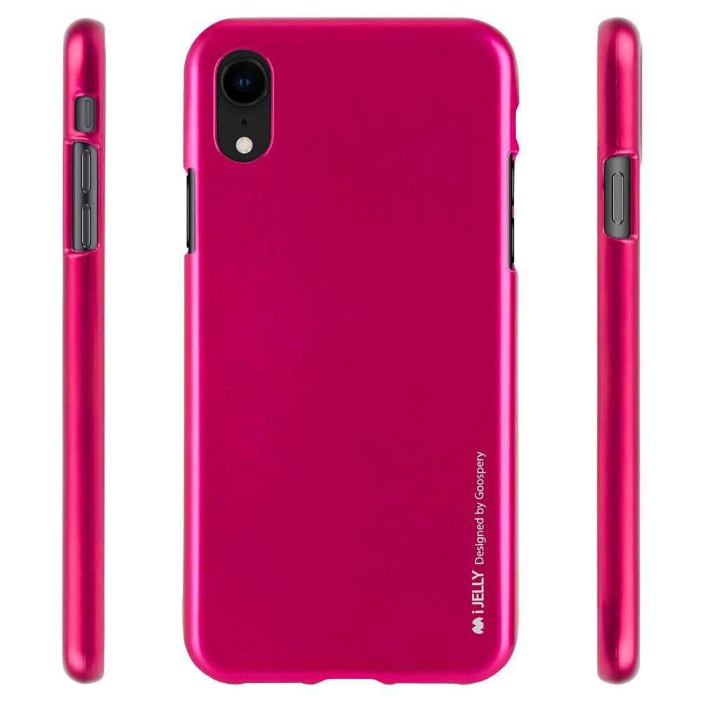 Pouzdro Goospery i-Jelly Metal iPhone XR - Tmavě růžový