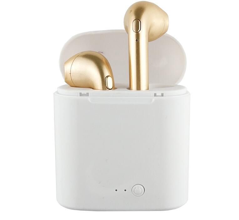 Bezdrátová bluetooth sluchátka AirPods i7S TWS + nabíjecí krabička - Zlatá (bulk)