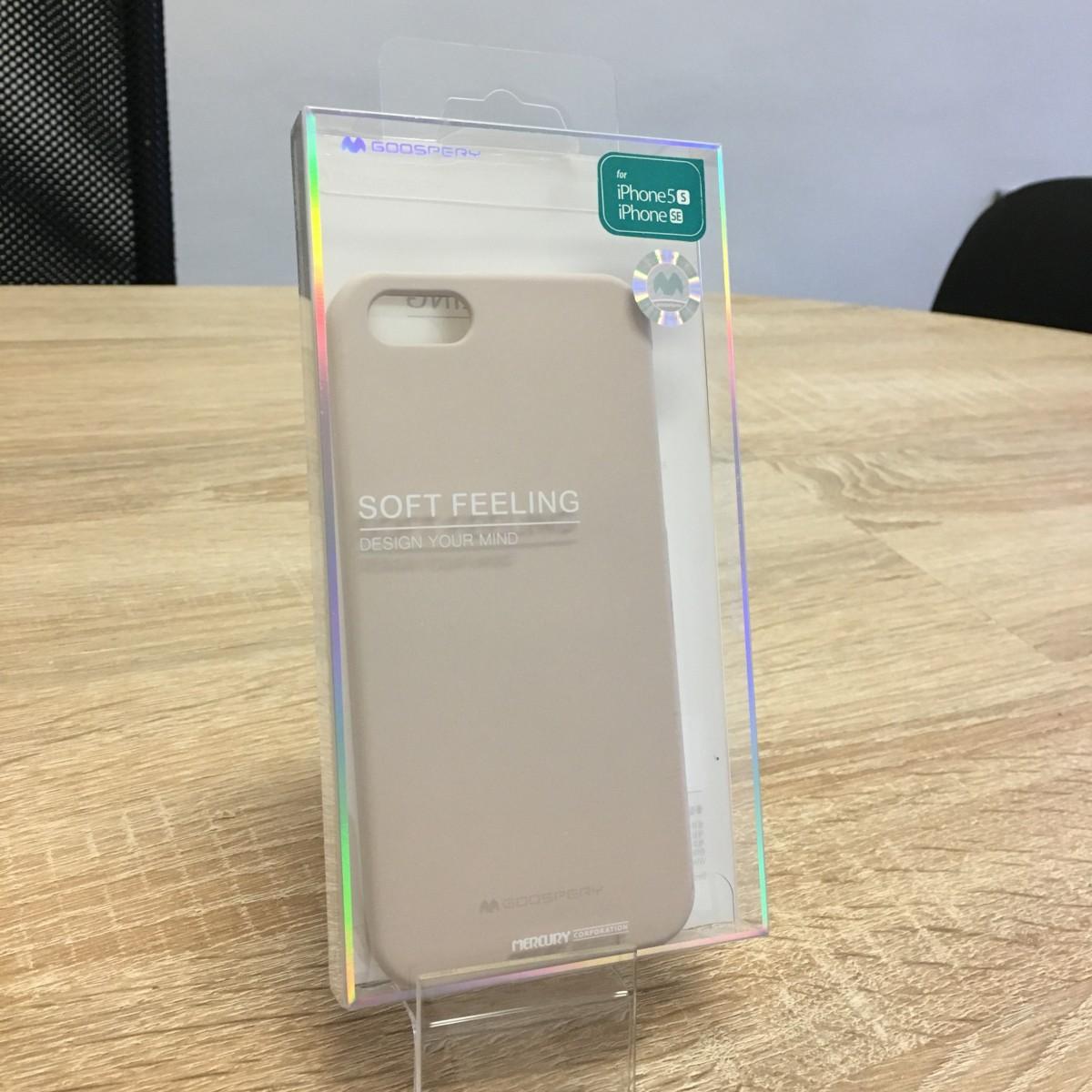 Obal / kryt Mercury Soft Feeling pro Apple iPhone SE/5s/5 - Pískově růžový