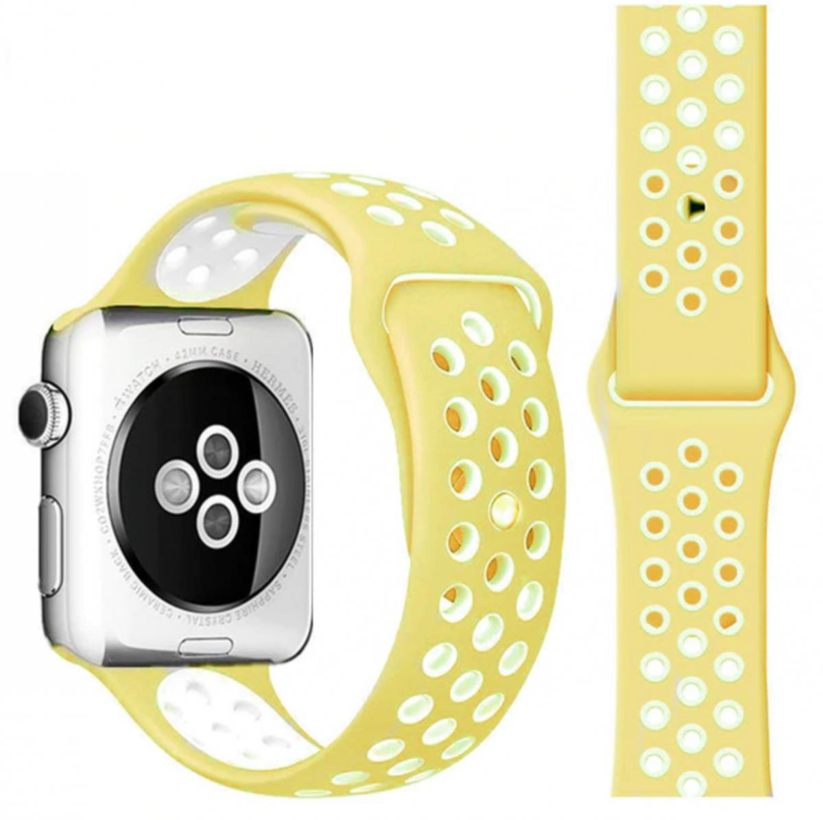 Řemínek SPORT pro Apple Watch Series 3/2/1 38mm - Jemně Žlutý/Bílý