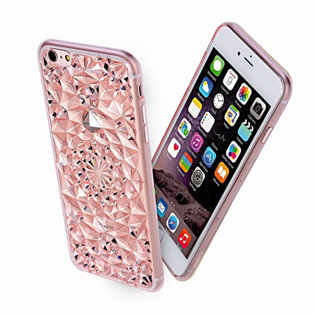 Kryt 3D Flowers & Crystals pro iPhone SE / 5s / 5 - Růžový