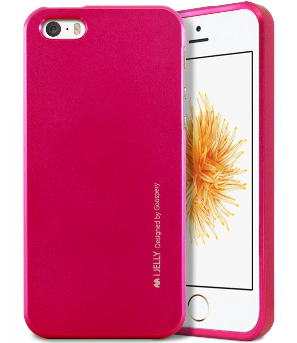 Silikonový obal / kryt iJelly od Goospery Mercury pro Apple iPhone SE / 5s / 5 - Metalicky růžový