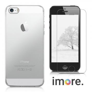 iMore SET: Čirý silikonový TPU obal + tvrzené sklo 9H na iPhone SE/5S/5
