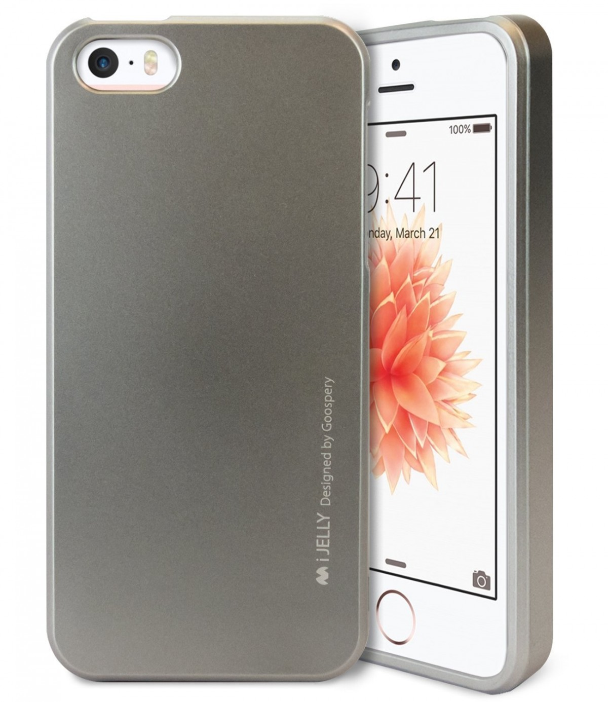 Pouzdro MERCURY iJELLY METAL APPLE IPHONE 5/5S/5SE ŠEDÉ