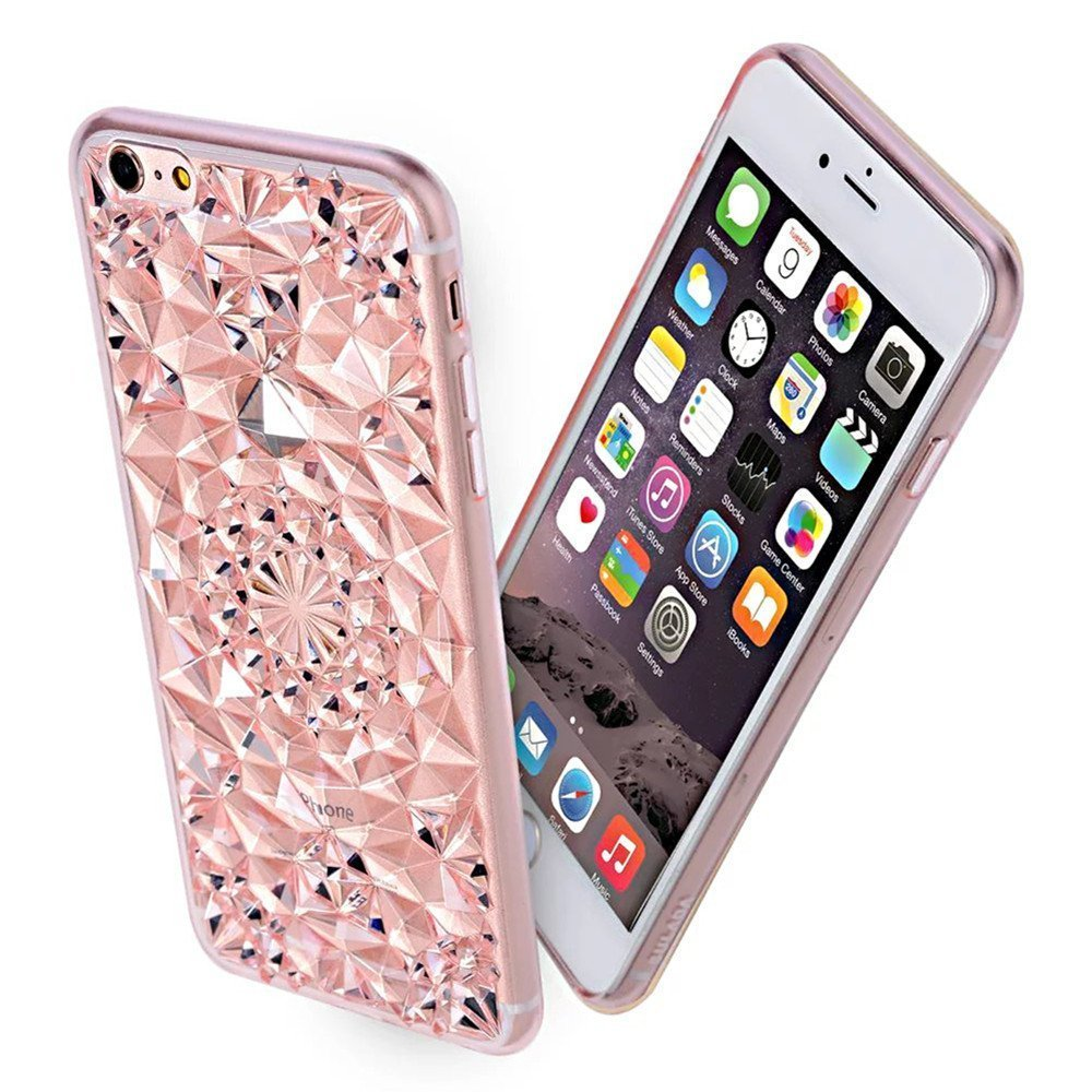 Kryt 3D Flowers & Crystals pro Apple iPhone 6s / 6 - Růžový