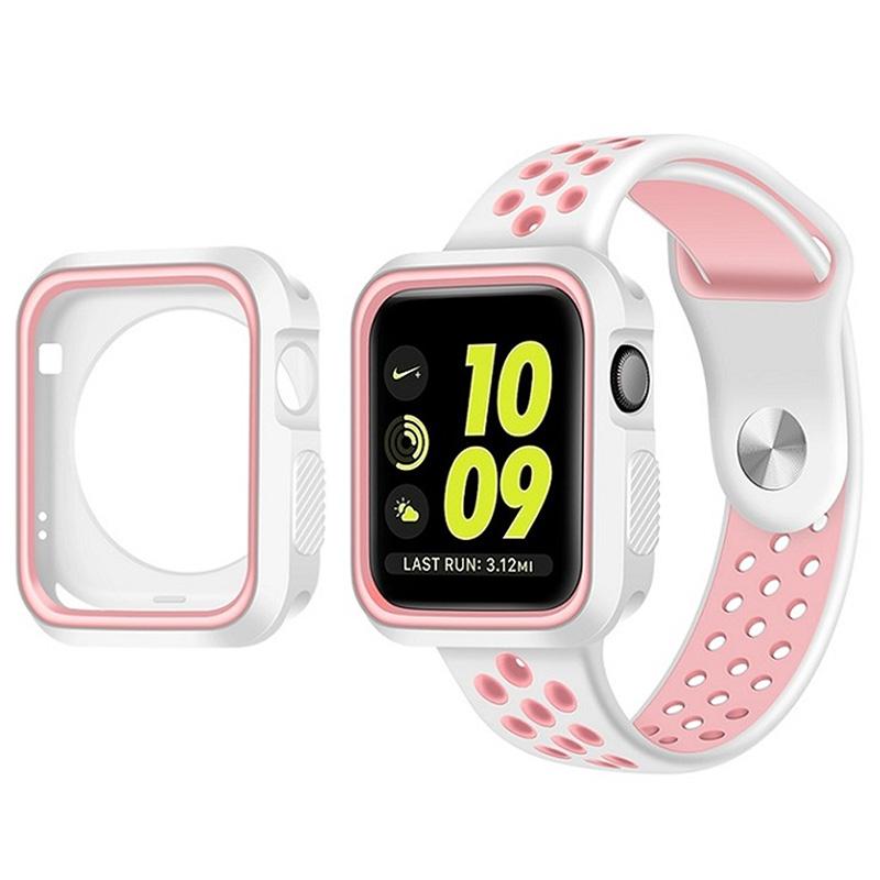 Pouzdro SPORT na Apple Watch 42mm Series 1, 2, 3 - Bílo růžové
