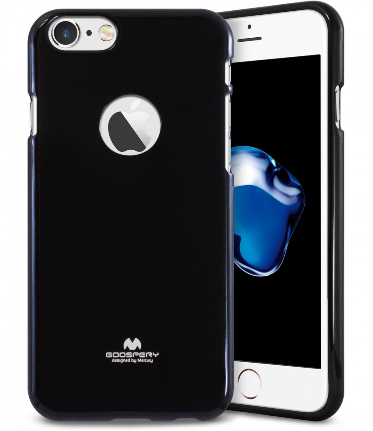 Tenké silikonové obaly / kryty Goospery Mercury pro Apple iPhone 7 - Černý / Jet Black