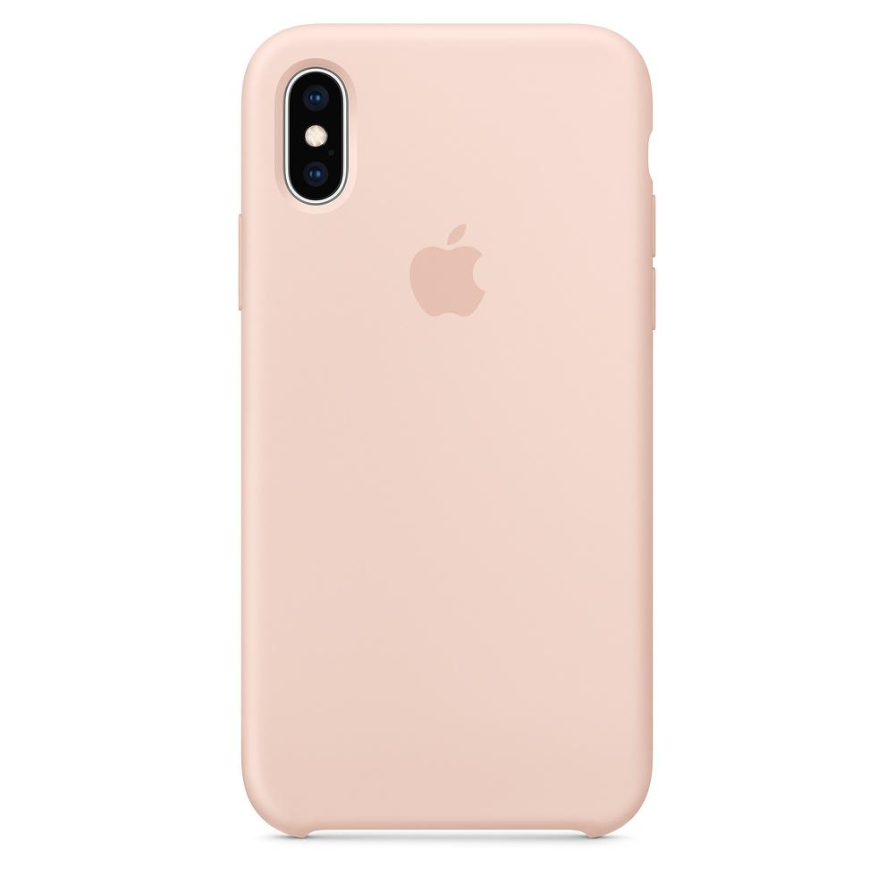Pouzdro Apple silikonové iPhone XS pískově růžové