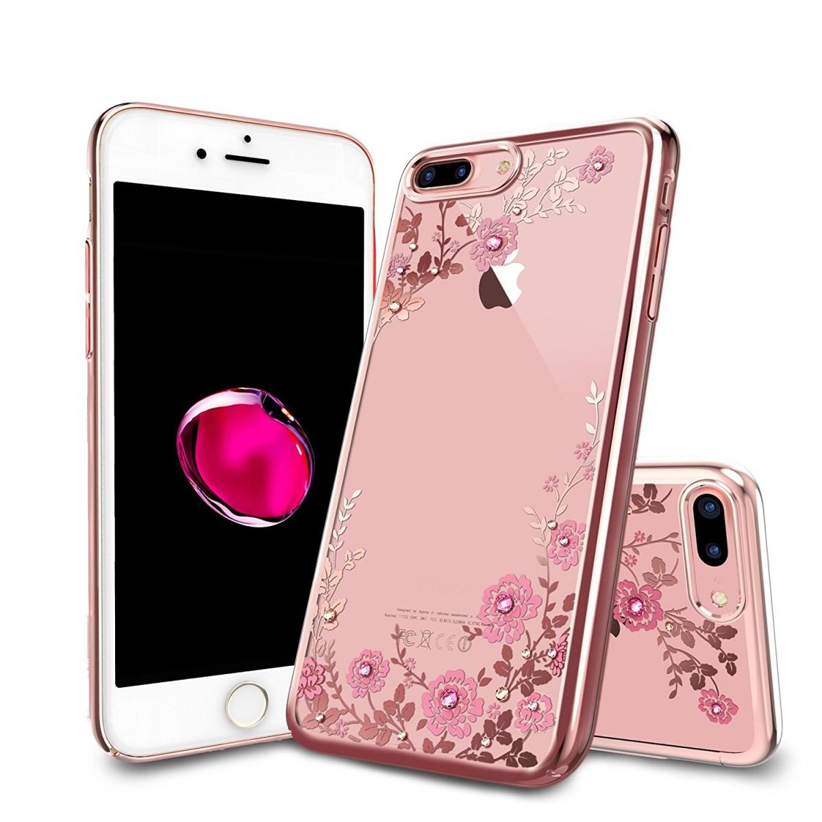 Obal / kryt Crystal Flowers pro iPhone 7 Plus - Růžově zlatý (rose gold)