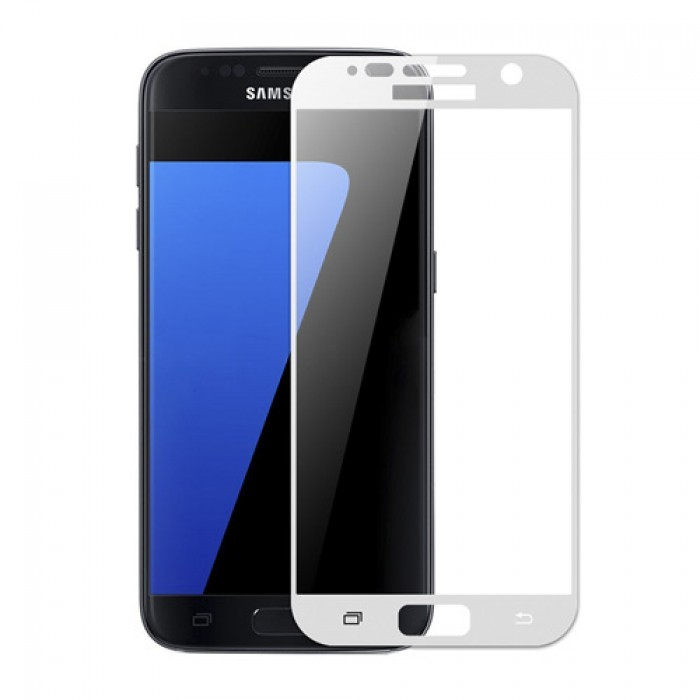 3D ochranné sklo Carbon Fiber na displej Samsung Galaxy S7 - Bílé