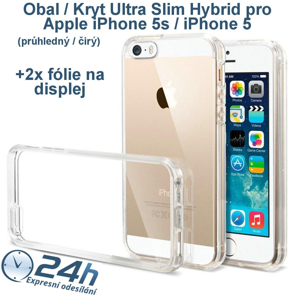 Průhledný čirý kryt na iPhone 5s / 5 +2ks fólií