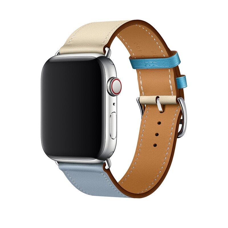 Řemínek Single Tour pro Apple Watch Series 3/2/1 (38mm) - Béžový/Modrý