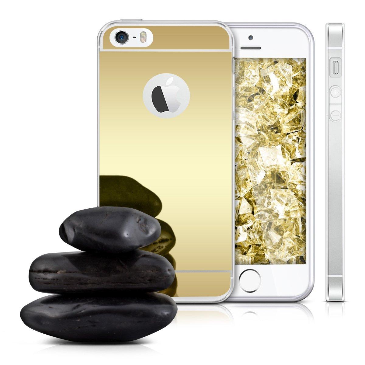 Pouzdro SES Silikonový zrcadlový Apple iPhone 5 5S SE - zlatý