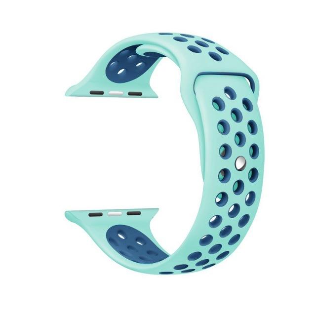 Řemínek SPORT pro Apple Watch Series 3/2/1 38mm - Mint/Modrý