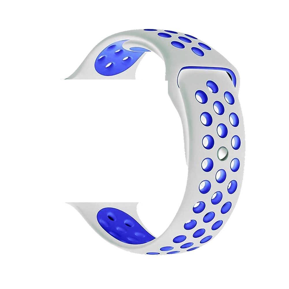 Řemínek SPORT pro Apple Watch Series 3/2/1 38mm - Bílý/Modrý