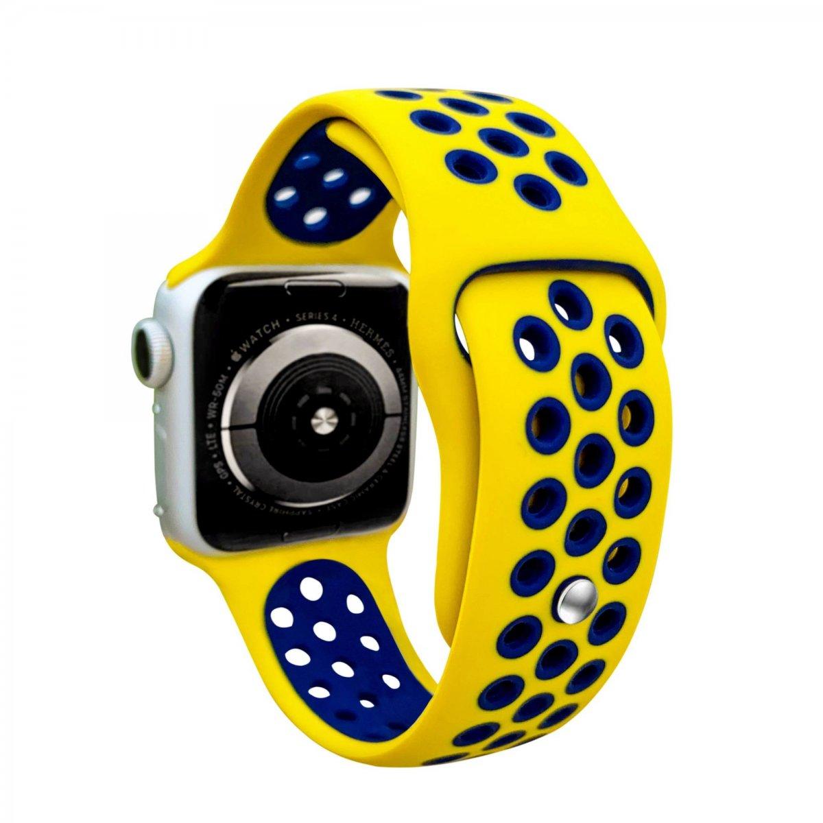 Řemínek SPORT pro Apple Watch Series 3/2/1 38mm - Žlutý/Půlnočně modrý