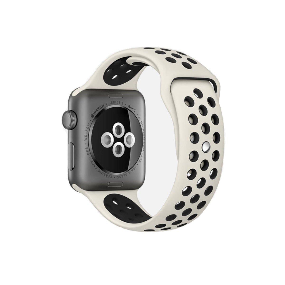 Řemínek SPORT pro Apple Watch Series 3/2/1 38mm - Anticky bílý/Černý