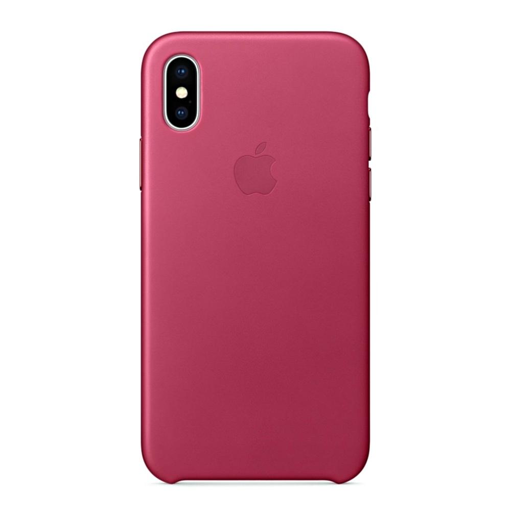 Pouzdro Apple kožené iPhone X fuchsiové
