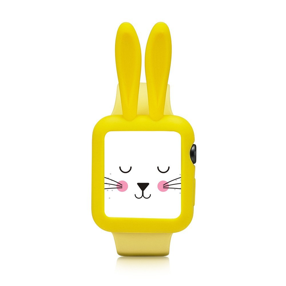 Silikonový kryt iMore Cartoon Rabbit Apple Watch, Series 1, 2, 3 - 42mm, žlutý