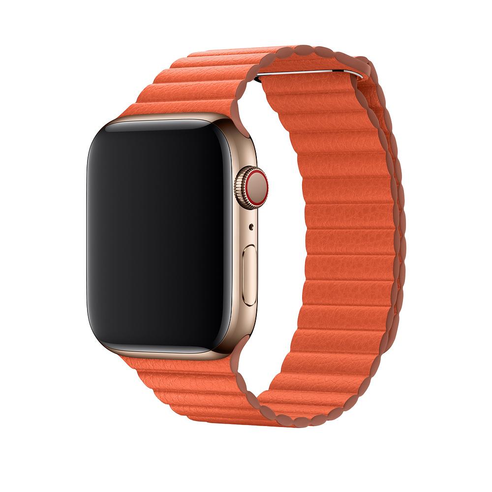 Řemínek Leather Loop na Apple Watch Series 3/2/1 (38mm) - Oranžový