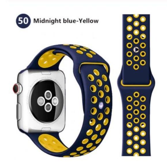 Řemínek SPORT pro Apple Watch Series 3/2/1 38mm - Půlnočně modrý/Žlutý