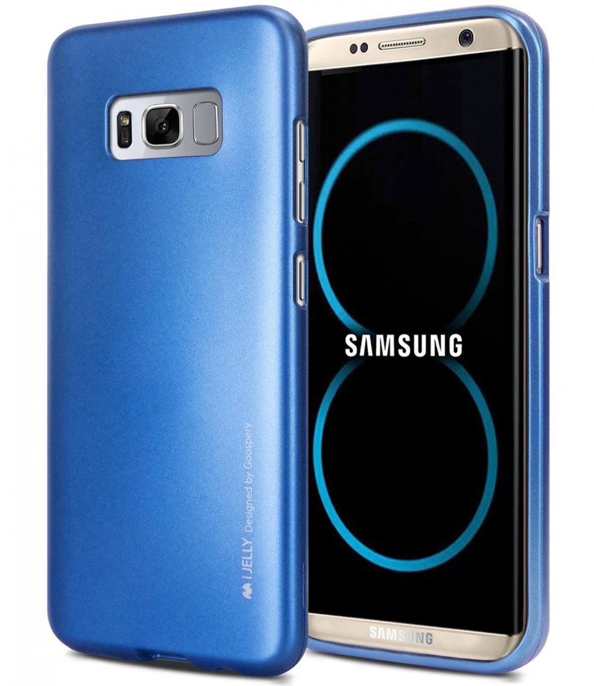 Silikonové barevné kryty Goospery Mercury pro Samsung Galaxy S8+ - iJelly Metal - Modrý