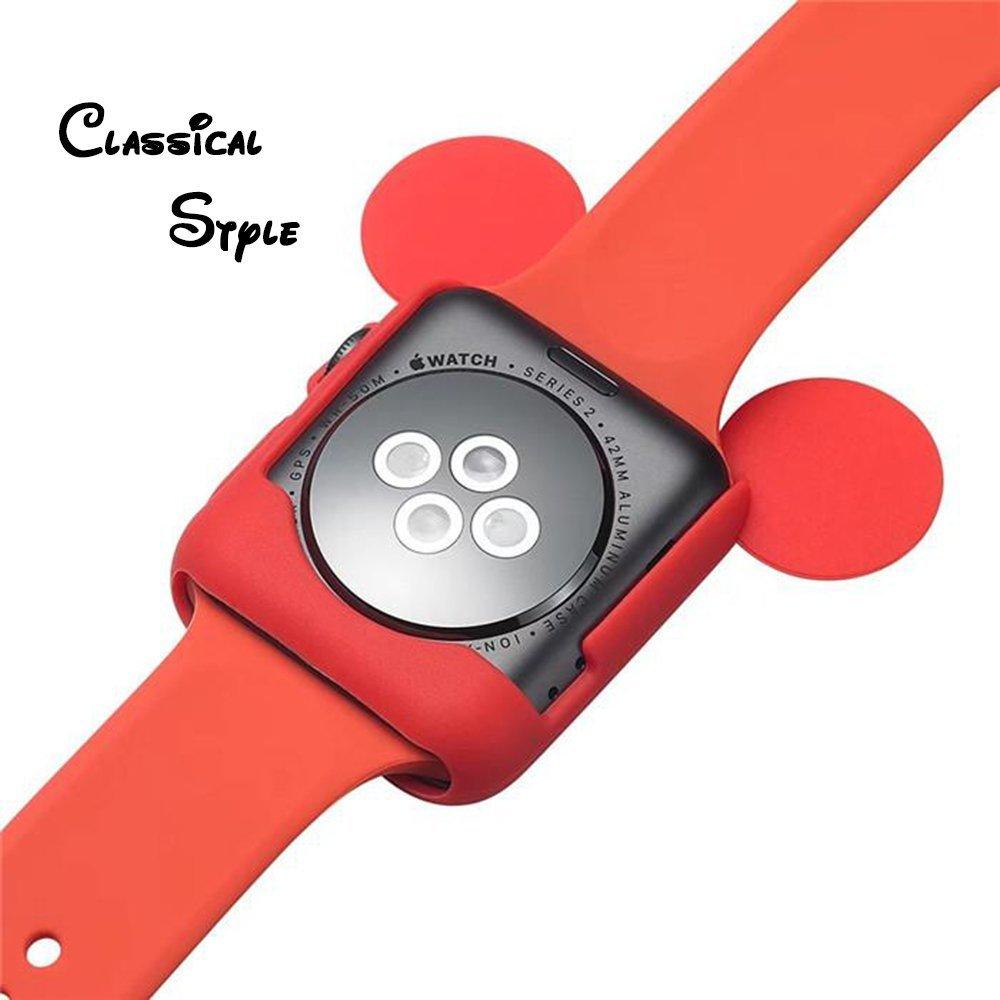 Obal Cartoon Mickey na Apple Watch 42mm Series 1, 2, 3 - Červený