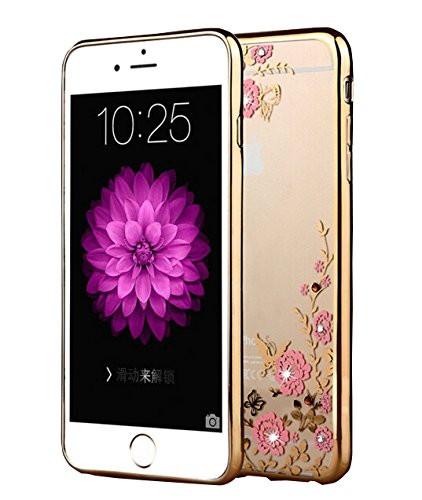 Obal / kryt Crystal Flowers pro iPhone 7 - Zlatý / Gold