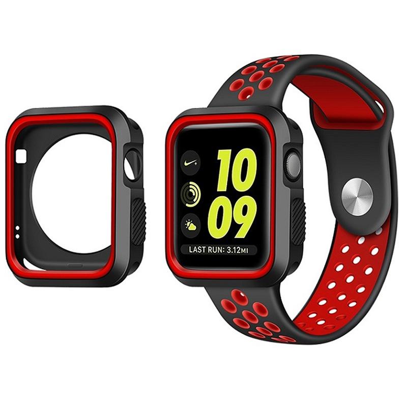 Pouzdro SPORT na Apple Watch 42mm Series 1, 2, 3 - Černo-červené