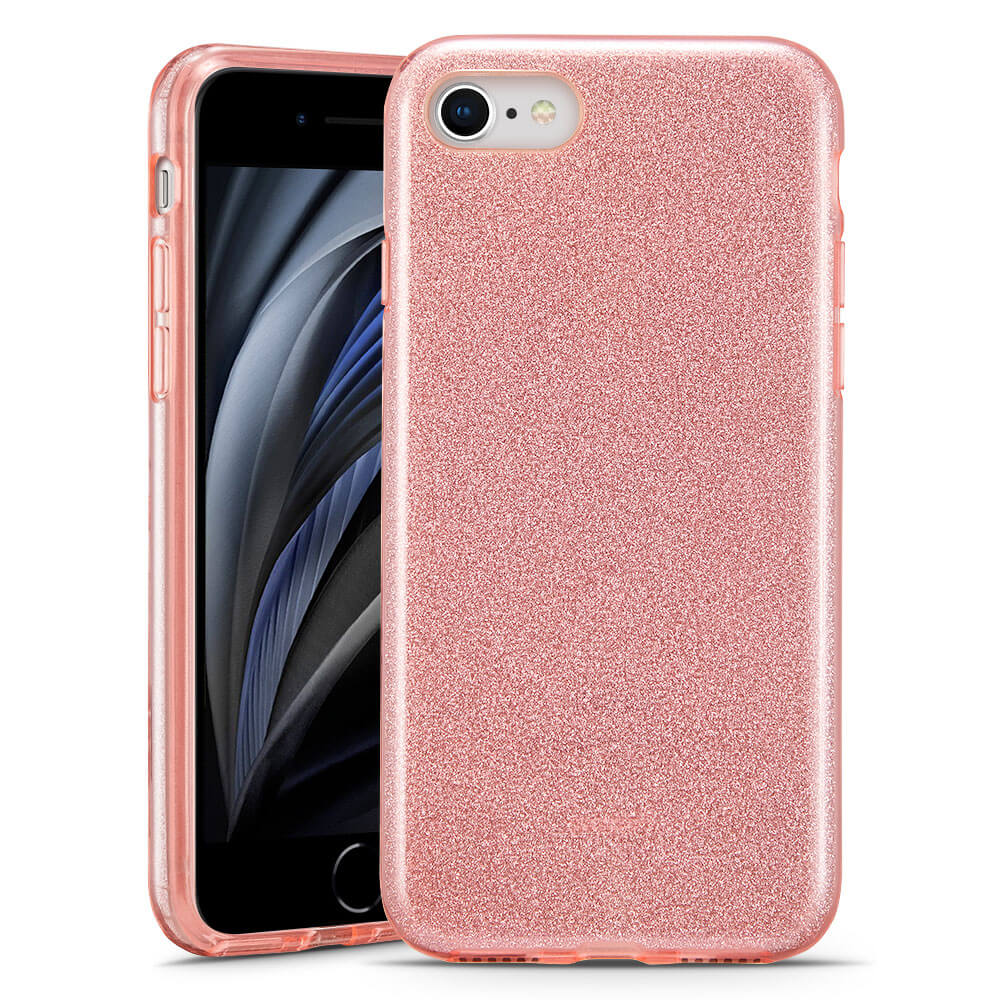 Pouzdro ESR Makeup Glitter Apple iPhone 7/8/SE 2020 - Růžové