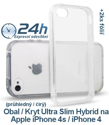 Průhledný čirý kryt na iPhone 4s / 4 +2ks fólií