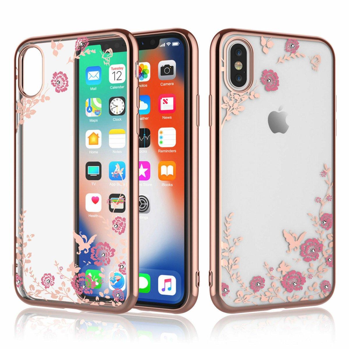 Pouzdro Forcell Diamond Case iPhone XS/X - Růžově zlatá