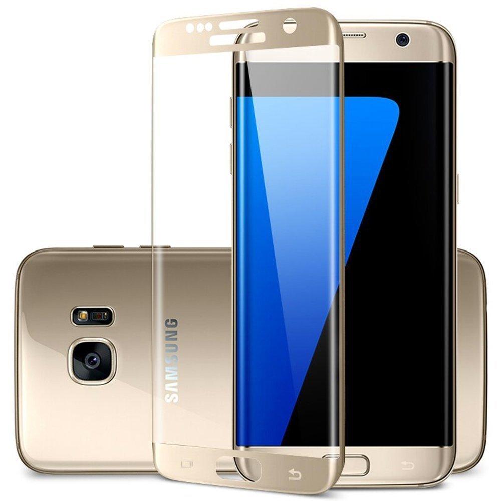 3D Tvrzené ochranné sklo 9H na celý displej pro Samsung Galaxy S7 Edge - Zlaté (gold)