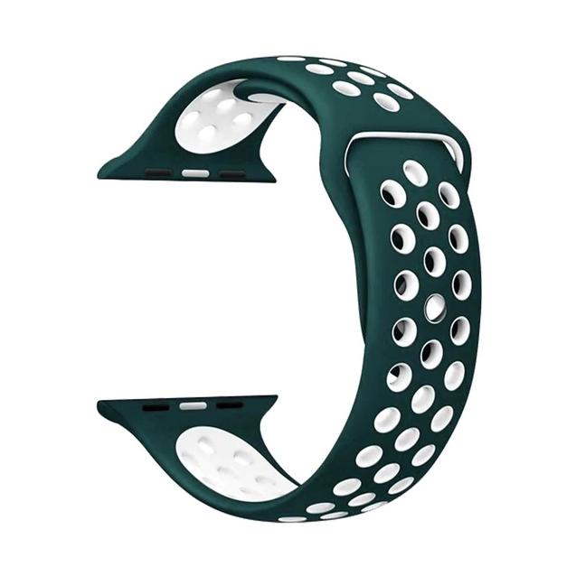 Řemínek SPORT pro Apple Watch Series 3/2/1 38mm - Tmavě zelený/Bílý