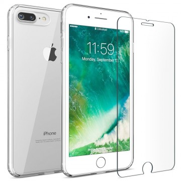 iMore SET: Čirý silikonový TPU obal + tvrzené sklo 9H na iPhone 8 Plus / 7 Plus