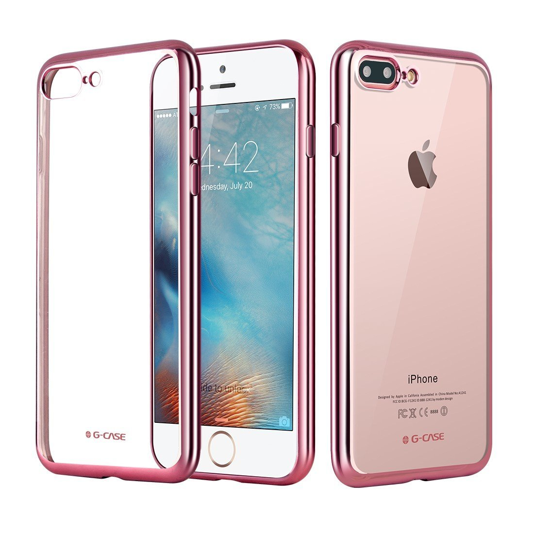 Elegantní obal / kryt RING pro iPhone 7 Plus - Růžově zlatý (rose gold)