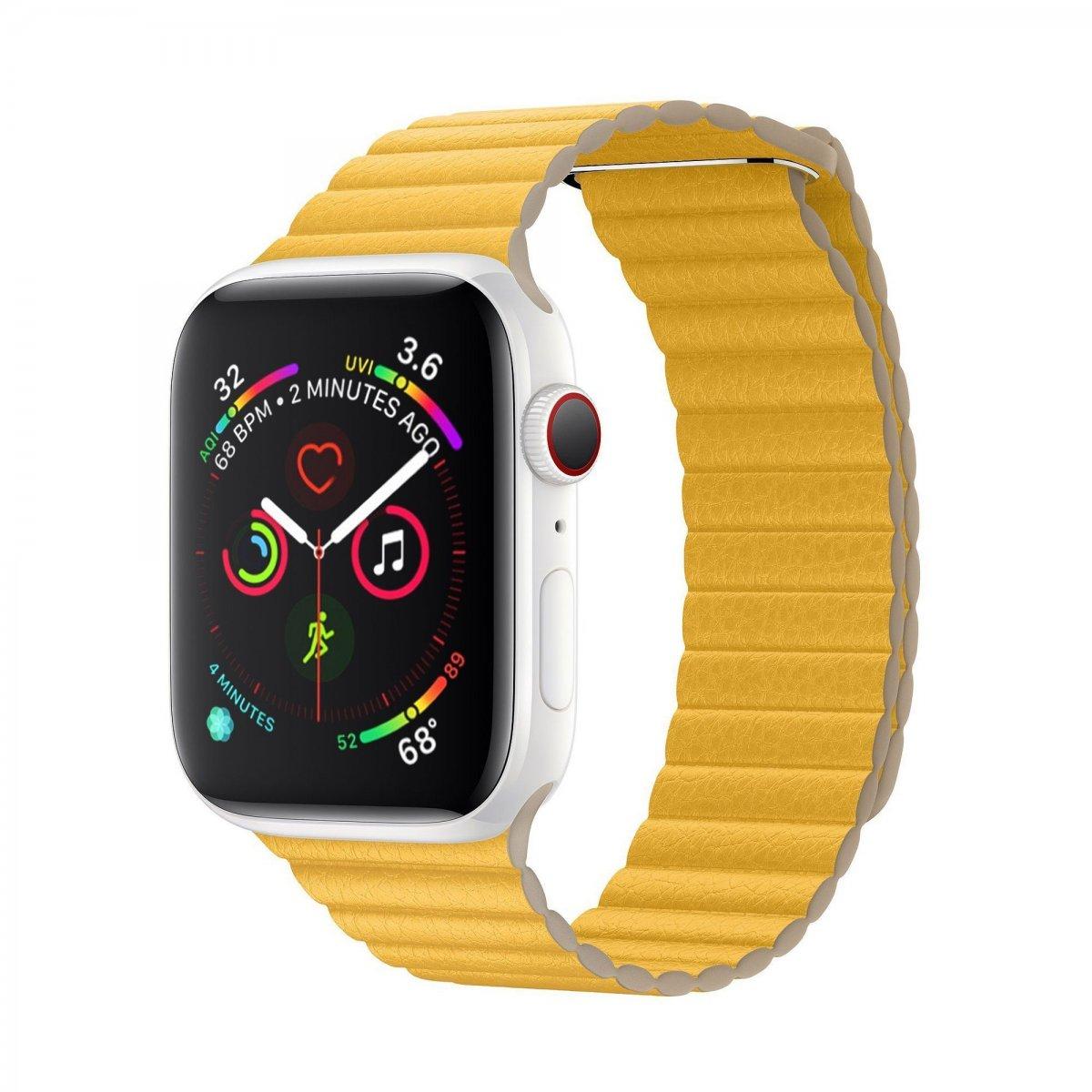Řemínek Leather Loop na Apple Watch Series 3/2/1 (38mm) - Žlutý