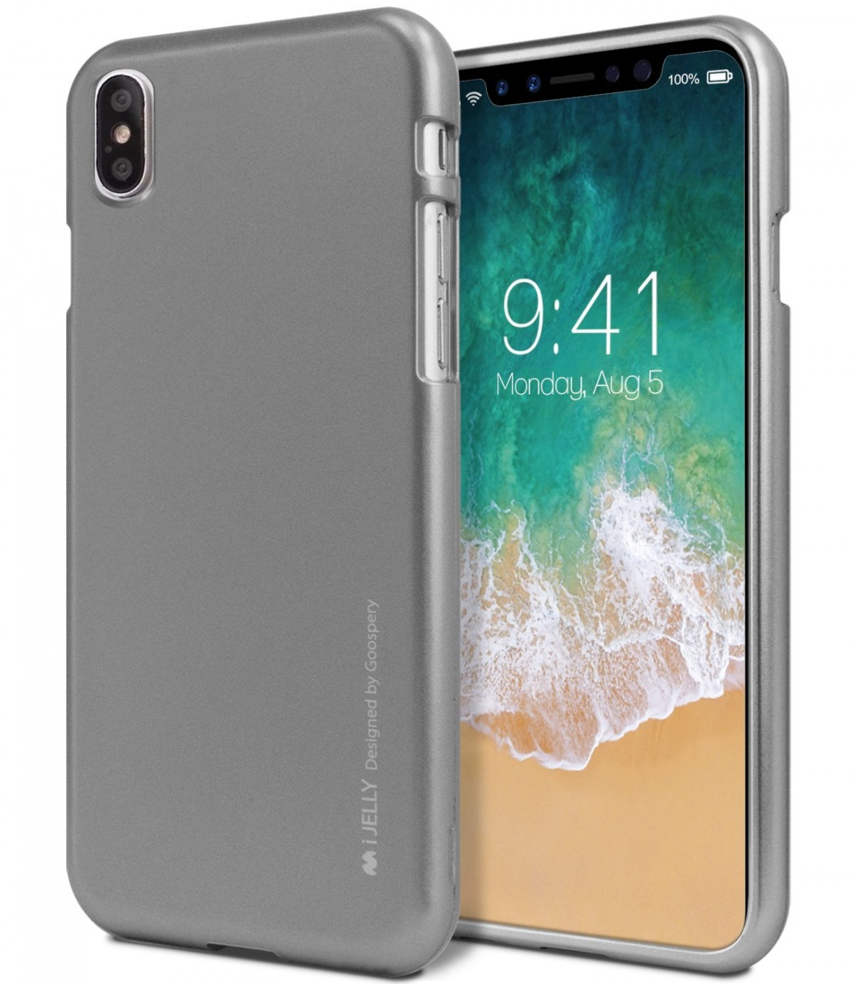 Pouzdro MERCURY iJELLY METAL APPLE IPHONE X ŠEDÉ 1d7aea39e63