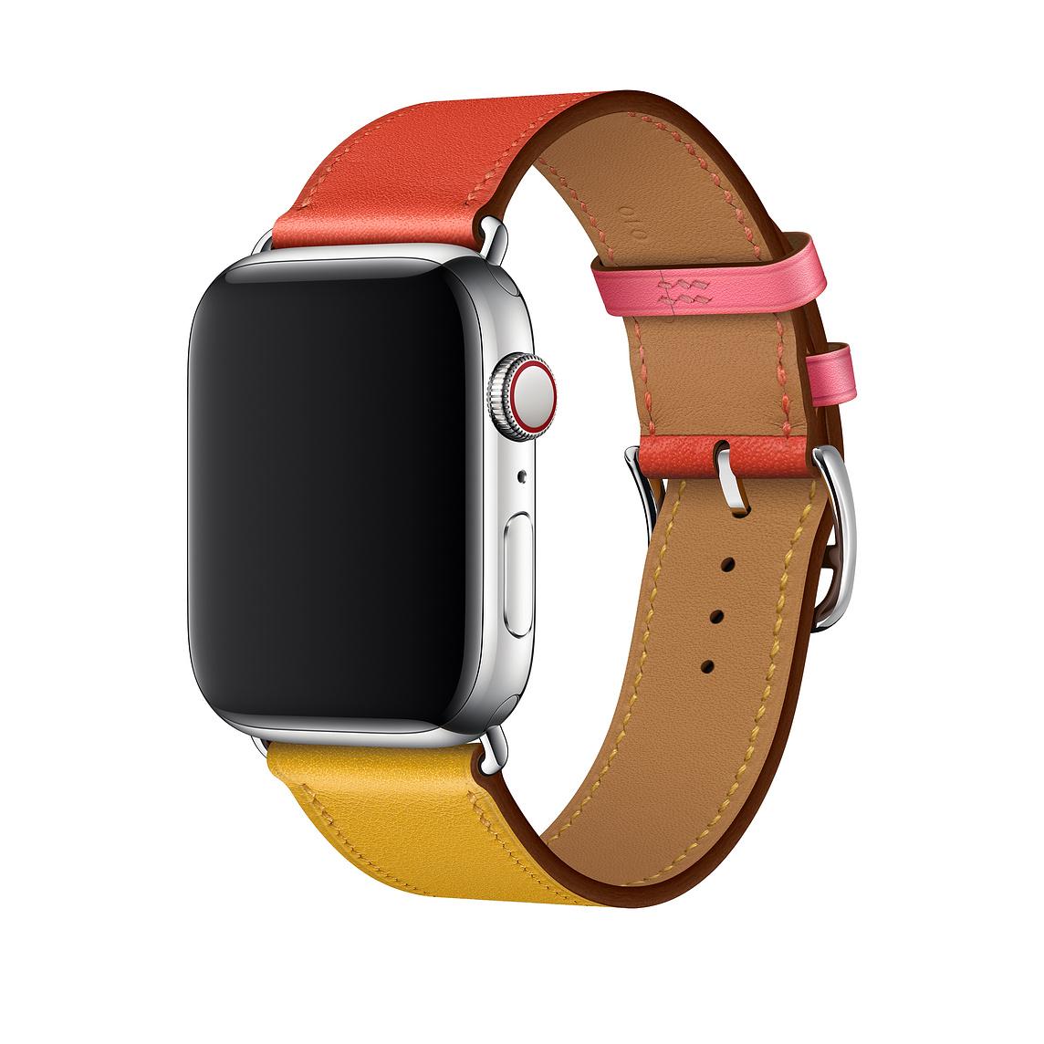 Řemínek Single Tour pro Apple Watch Series 3/2/1 (38mm) - Bordó/Žlutý