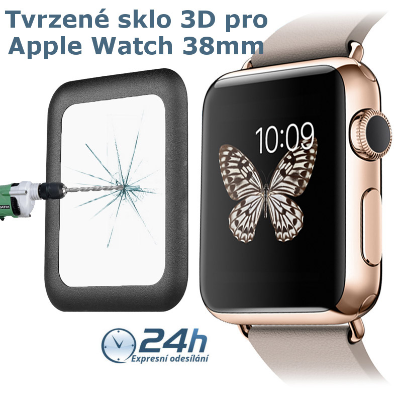 3D sklo Titanium - Apple Watch / S 1, 2 (38mm, černé)