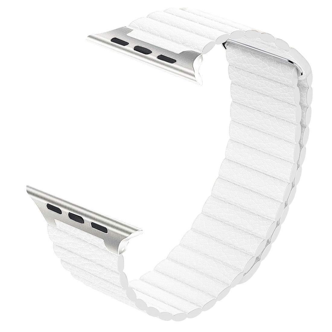 Řemínek Leather Loop na Apple Watch Series 4 (44mm) - Bílý