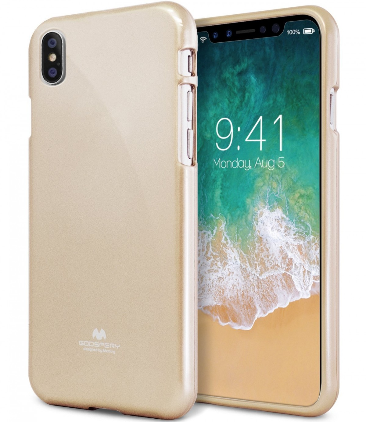 Pouzdro Goospery Mercury Jelly na Apple iPhone Xs/X - Zlatý