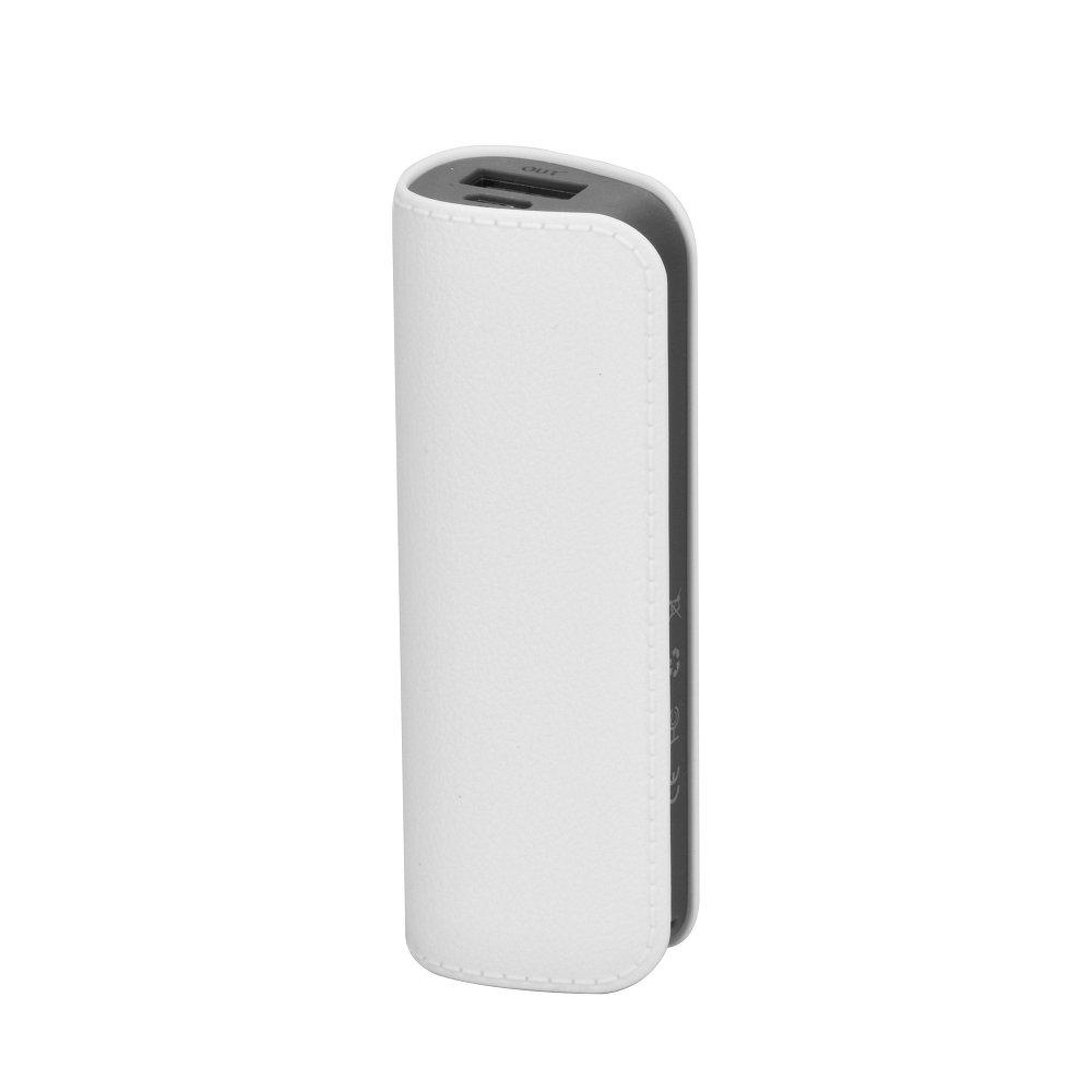 Elegantní kožená Power Banka / Externí baterie LEATHER DL511 2600mAh + Micro USB kabel - Bílá