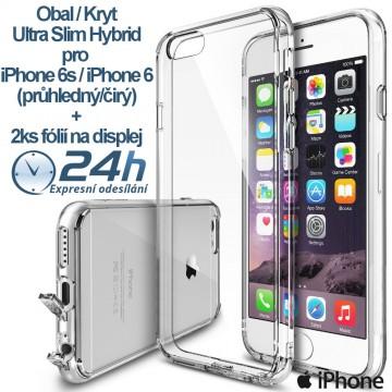 Průhledný kryt Ultra Slim Hybrid na iPhone 6s / 6 +2ks fólií
