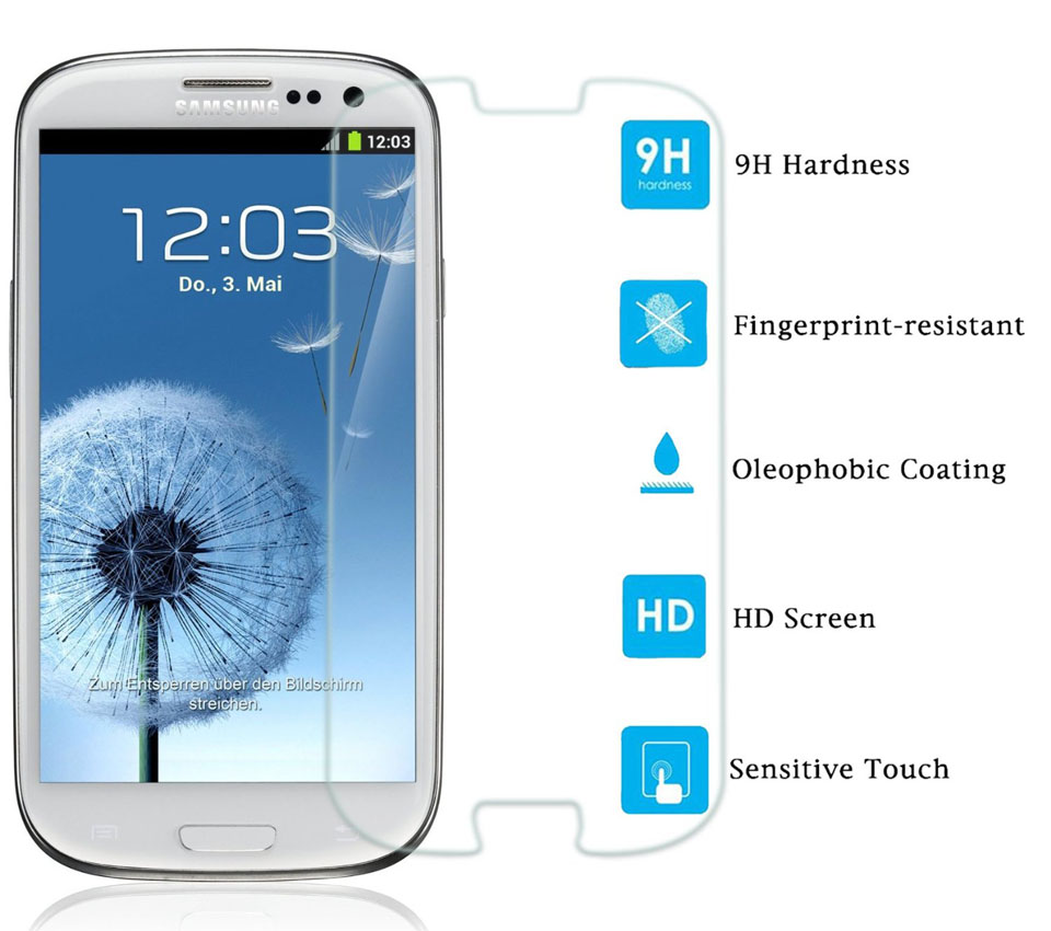 Ochranné tvrzené sklo na displej pro Samsung Galaxy S3 a S3 Neo. Fólie.