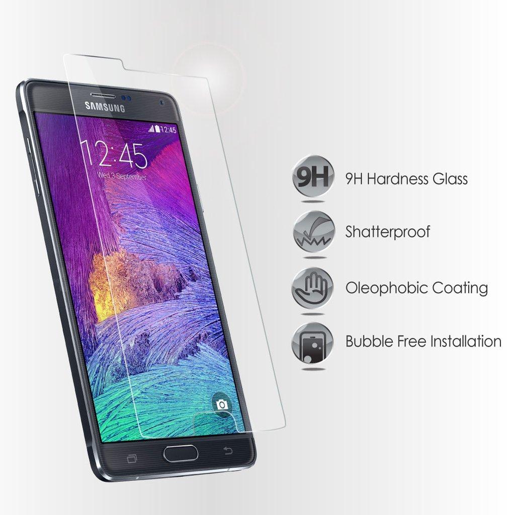 Ochranné tvrzené sklo na displej 9H pro Samsung Galaxy Note 4, fólie.